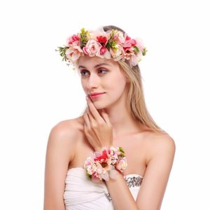 DDazzling Nature Berries Flower Crown Floral Wrist Band Wedding Festivals